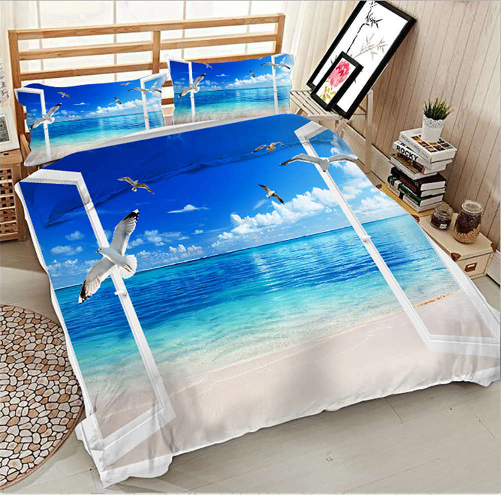 Crystal blueeee Lake 3D Printing Duvet Quilt Doona Covers Pillow Case Bedding Sets
