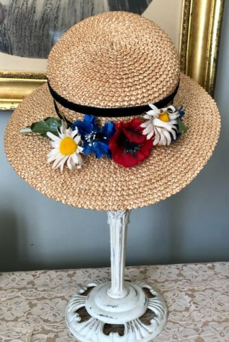 CHARMING VINTAGE 1940's GIRLS CHILDS STRAW WIDE B… - image 1