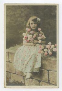 c 1910 Child Children DARLING ROSE GIRL Fantasy French photo postcard