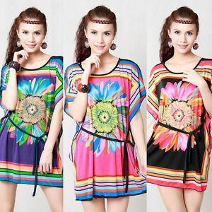 Trendy-Womens-Girls-Tee-BOHO-Vintage-Summer-T-shirt-Casual-Top-E308-M-L-XL
