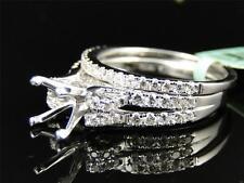 Womens 18K White Gold Diamond Princess Cut Semi Mount Brial Wedding Ring Set