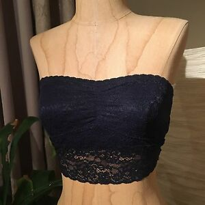 e74313eaba636 NWT Gilly Hicks Navy Blue Strapless Lace Floral Bralette Crop Top ...