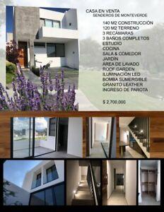 En venta casa 3 habitaciones en Senderos de Monte verde Tlajomulco de Zúñiga, Jalisco