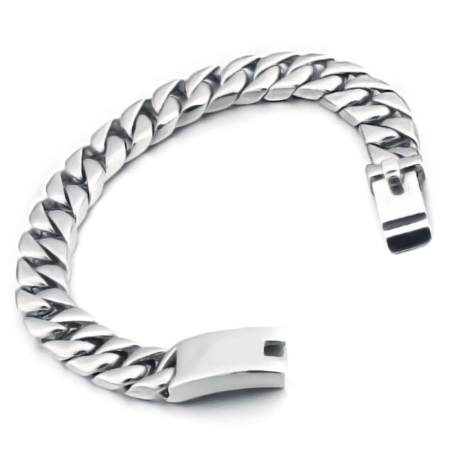 Mendino Men S Stainless Steel Bracelet Curb Link Chain Bangle Biker Silver Tone