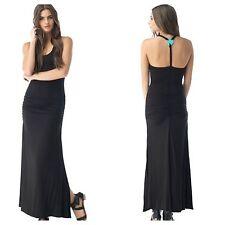 SKY Brand S Kirilla Black Side Slit Turquoise Stone Maxi Dress-NWT-Small