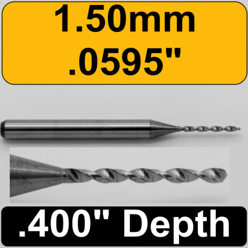 "1.50mm #53  .0595/"" Diameter Solid Carbide Drill 1//8/"" Shank Kyocera #105-0595.400"