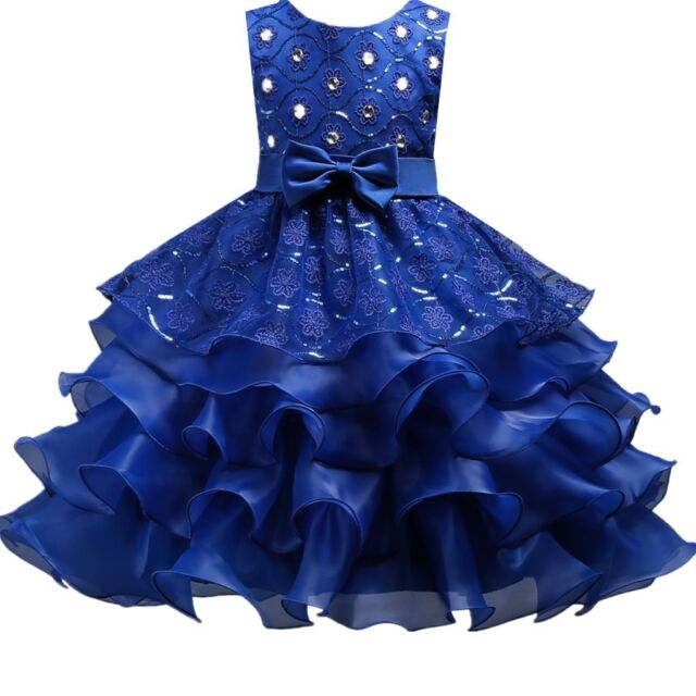 7f6a49d07360 Wedding Flower Girl's Bridesmaid Ruffles Lace Royal Blue Cute Bow ...