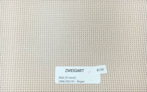 "Zweigart Aida 8 Count Fabric Fat Quarter 18/"" x 21/"" Cross Stitch 4 Colors"