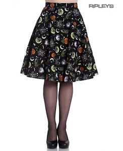 Hell Bunny Goth Black Halloween 50s Skirt SALEM Bats Ghosts Pumpkins XS 8