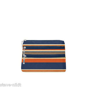 153e7cd2e5 Image is loading Baggallini-3-Zip-Cosmetic-Case-TOILETRY-Pacfic-Stripes-