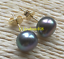 Charming-AAA-Tahitian-8-9mm-Cultured-black-green-pearl-earrings-14k-gold thumbnail 2