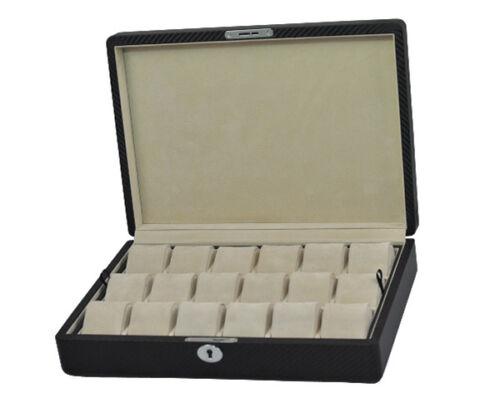 Scatola Portaorologi Astuccio Box per 18 orologi con effetto Fibra di Carbonio