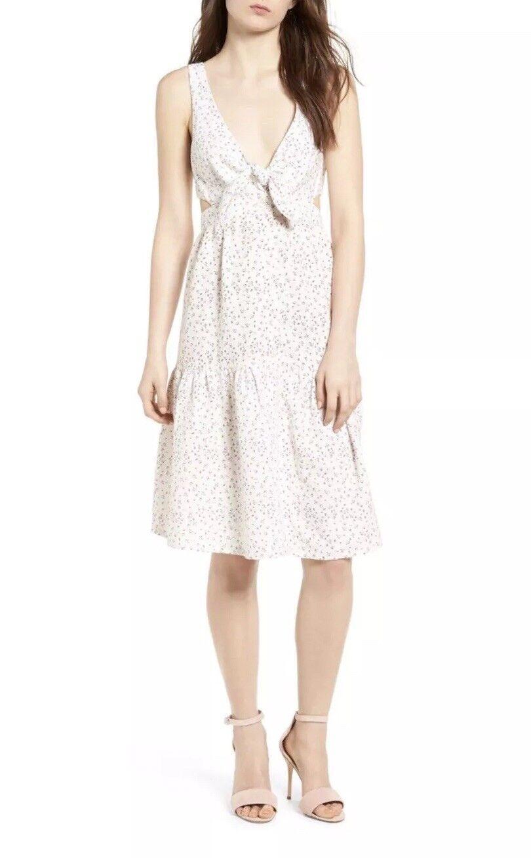 NWT McGuire Denim - Palizzi Cutout Tie Front Dress Size 4 pink Garden NWD