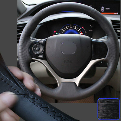 Red thread Eiseng Steering Wheel Cover Custom Fit for 9th Honda Accord Sedan 2013 2014 2015 2016 2017 DIY Stitch on Wrap Interior Accessories 15 inches Black Suede