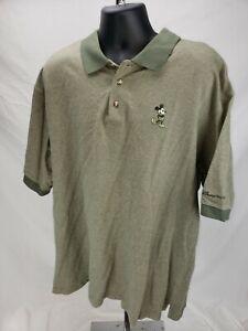 WALT-DISNEY-WORLD-Men-s-Mickey-Mouse-Polo-Golf-Shirt-Zig-Zag-Olive-Green-Sz-XXL