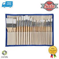 24 Pcs Chip Paint Brushes Set Professional Synthetic Short Handle w/ Brush Case