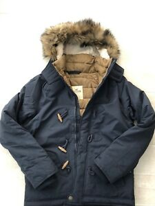 Details about New Hollister Mens Toggle Puffer Faux Fur Hooded Jacket Coat NAVY Large