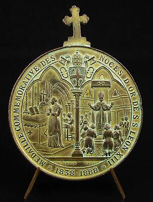 Médaille Papale Pape Pope Leo Xiii Pont Max Noces D'or 1888 50 Y Wedding Medal Los Pedidos Son Bienvenidos.