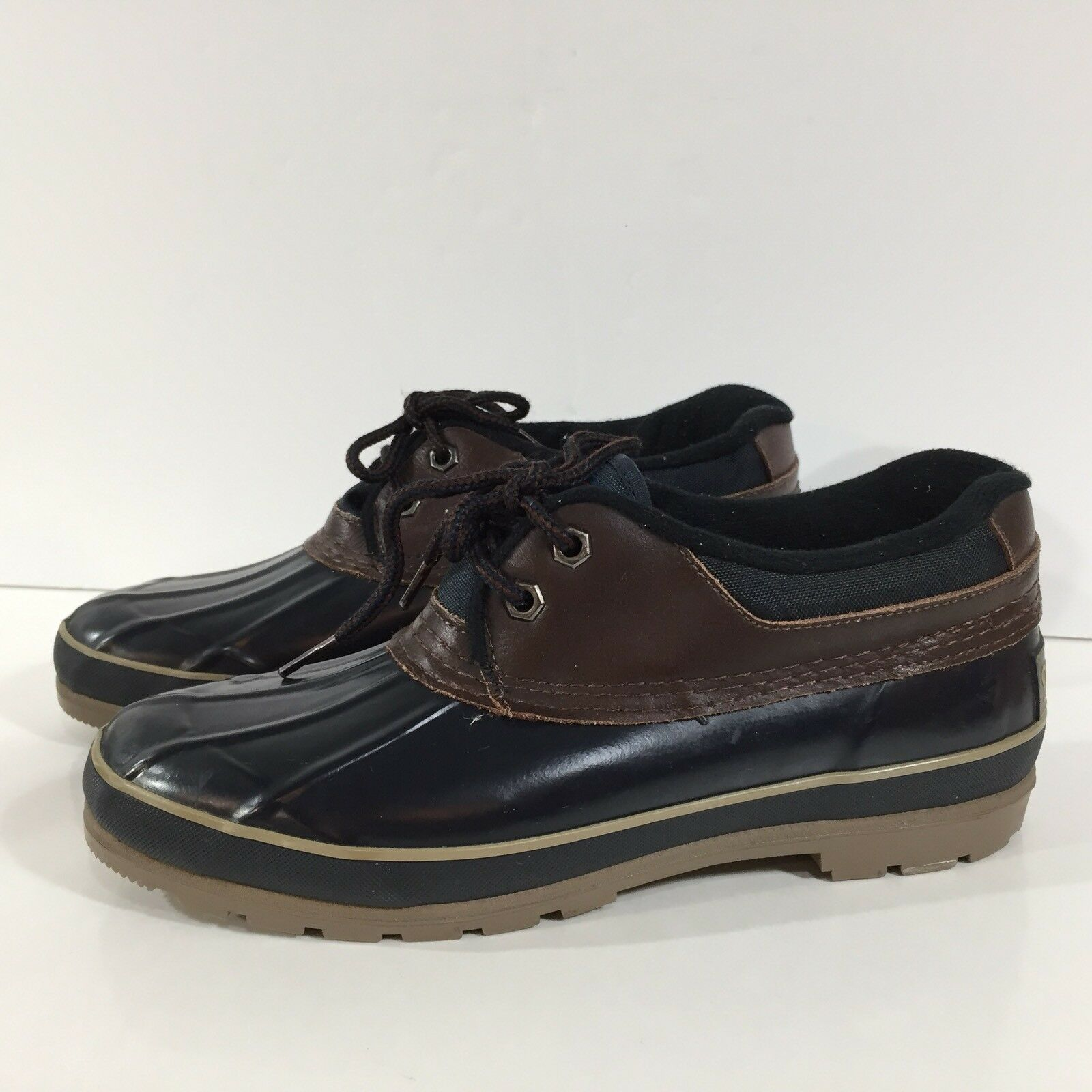Womens Vintage SPORTO Size 8 Navy Rubber Leather Waterproof Duck shoes Rain Boot