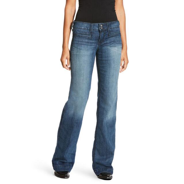 5819ca80f127 Ariat® Ladies Outseam Ella Mid Rise Wide Leg Trouser Jeans 10018360