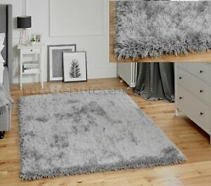 SMALL-LARGE-THICK-CHUNKY-DEEP-SOFT-DENSE-PILE-SILVER-GREY-LUSH-JEWEL-SHAGGY-RUG
