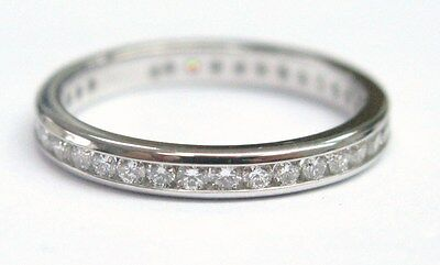 Fine Round Cut Diamond Eternity White Gold Band Ring  .60CT Size 6