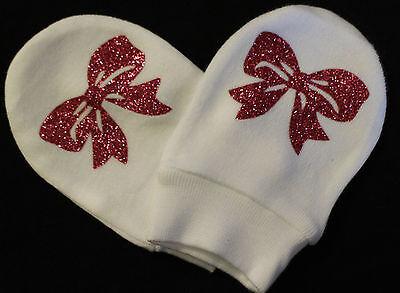 Baby girl roses paillettes Bling Bling moufles coton blanc scratch Mitaines nouveau-né