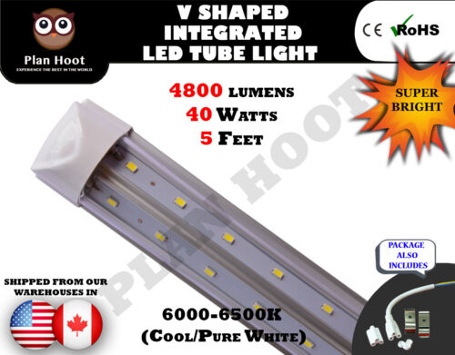 Integrated V Shape 5FT 40W 6500K T8 Clear LED Fluorescent Replacement Tube Light