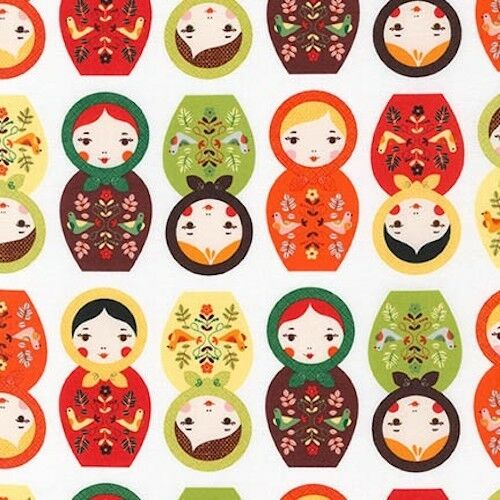 Little Kukla Matryoshka Dolls Robert Kaufman  ASD-12817-268 Nature Cotton Fabric