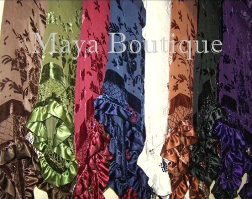 BURGUNDYBURG Shawl Scarf Wrap Silk Burnout Velvet Triangle Ruffles Maya Matazaro