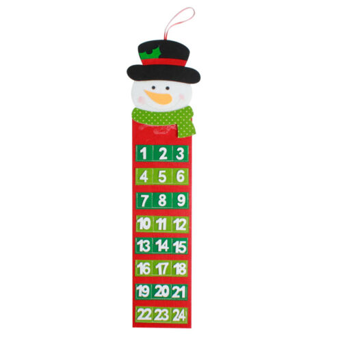 CN/_ LOVELY CHRISTMAS COUNTDOWN CALENDAR NUMBER POCKETS TAG BAG XMAS DECOR OPUL