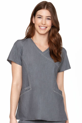 7472 Med Couture Women/'s Mock Wrap Scrub Top