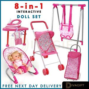 Kids Interactive First Baby Doll Play Set Stroller Chair Cot Accessory Girls Toy