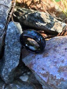 Black And Blue Titanium Ring Engraveable