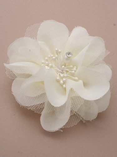 FABRIC FLOWER /& DIAMANTE CENTRE ON FORKED BEAK CLIP WITH BROOCH PIN