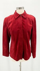 L.A.L. Live A Little Womens Deep Red Suede Leather Full Zip Shirt Jacket Sz M