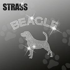 """Strass Steine Sticker Applikation Hund """"Beagle"""" Bügelbild, HotFix, ca. 20x15cm"""