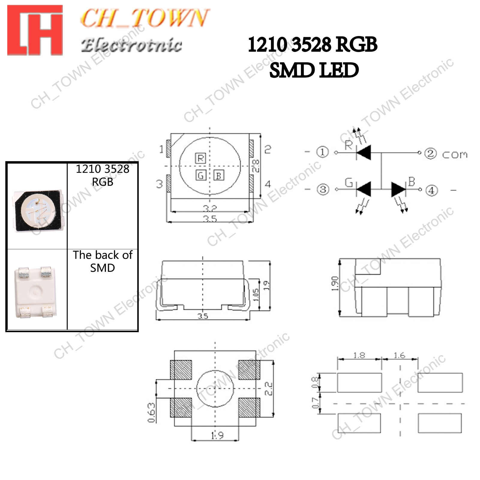 SMD LED PLCC2 2835 60mA SUNNY WHITE blanc warm wit very flat and bright 3528