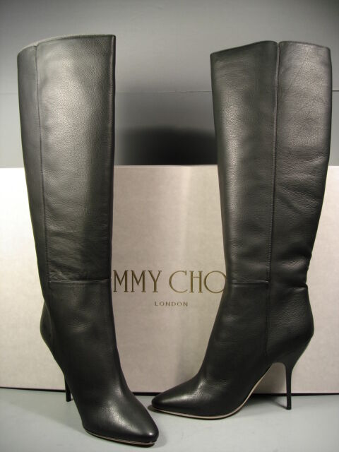 JIMMY CHOO DRAPE schwarz CALF LEATHER KNEE HIGH HIGH HEELS PULL ON Stiefel 38 8 NEW