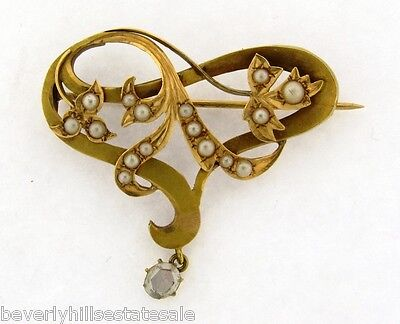 Antique Art Nouveau Pearls Diamond 18k Gold Pin