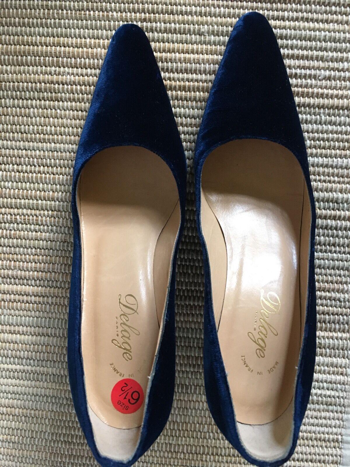 Vackra Vackra Vackra blå sammet Delage Pumpar 36.5 Eller 6.5  upp till 60% rabatt