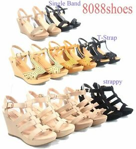 Women-039-s-Buckle-T-Strap-Strappy-Open-Toe-Wedge-Sandal-Shoes-Size-5-10-NEW