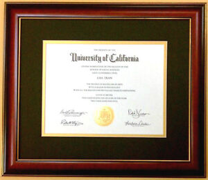 Diploma Mahogany Red Cherry Frame Gold Black Mat Matte