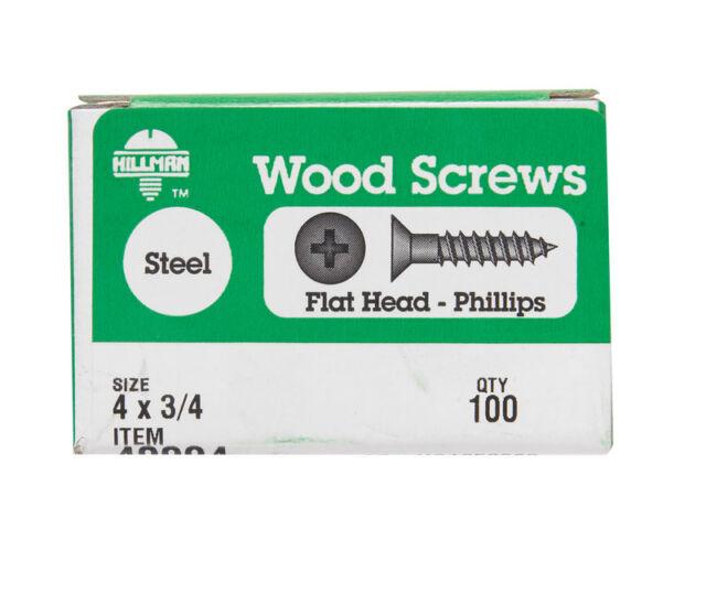Hillman 40096 Zinc Plated Steel Flat Head Phillips Wood Screw #9 x 3//4 in.