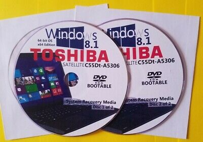 A5305 System Recovery Media 2-Discs Windows 8.1 64bit TOSHIBA SATELLITE C55Dt