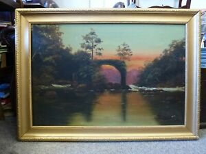Antique-framed-Oil-on-canvas-Painting-Sunset-River-Ruin-signed-C-M-N-1916-Irish