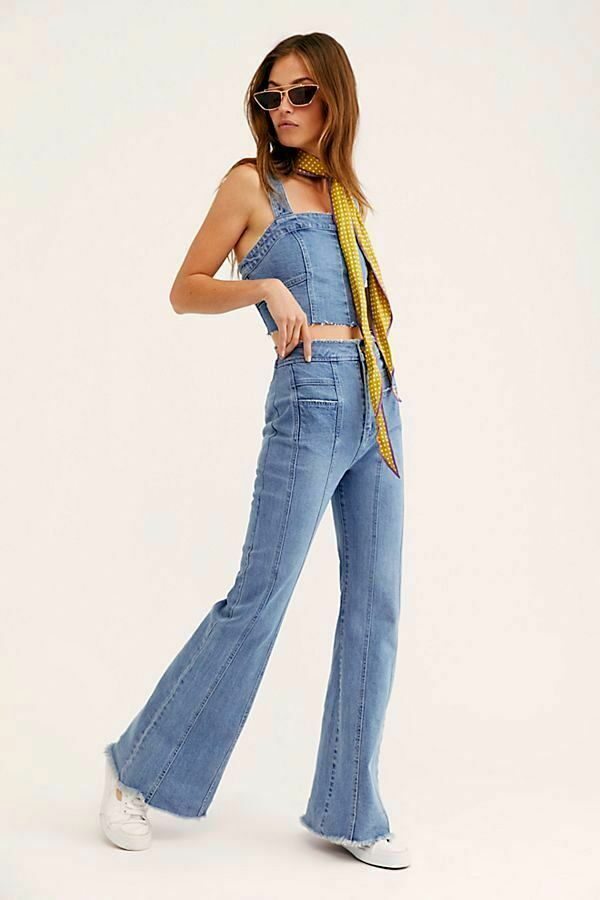 Free People 2 Piece NWT Größe 29 Denim Valencia Flare Set NEW
