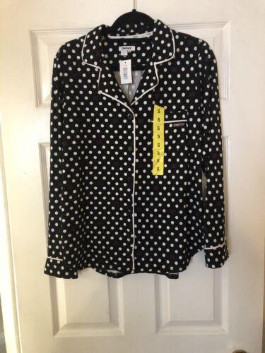 Dkny Pyjama Top Size Small Black/&white Spot