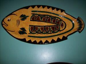Grand plat en forme de poisson -céramique -St Jean de la poterie - bretagne-TB E EkpvvNn1-09113456-536905300
