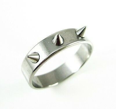 Stainless Steel Polished Spike Rivet Punk Wedding Band Ring Size 11